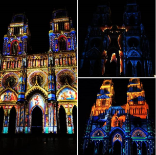 Photograph of the beautiful illuminations on the Cathedral Sainte Croix at night